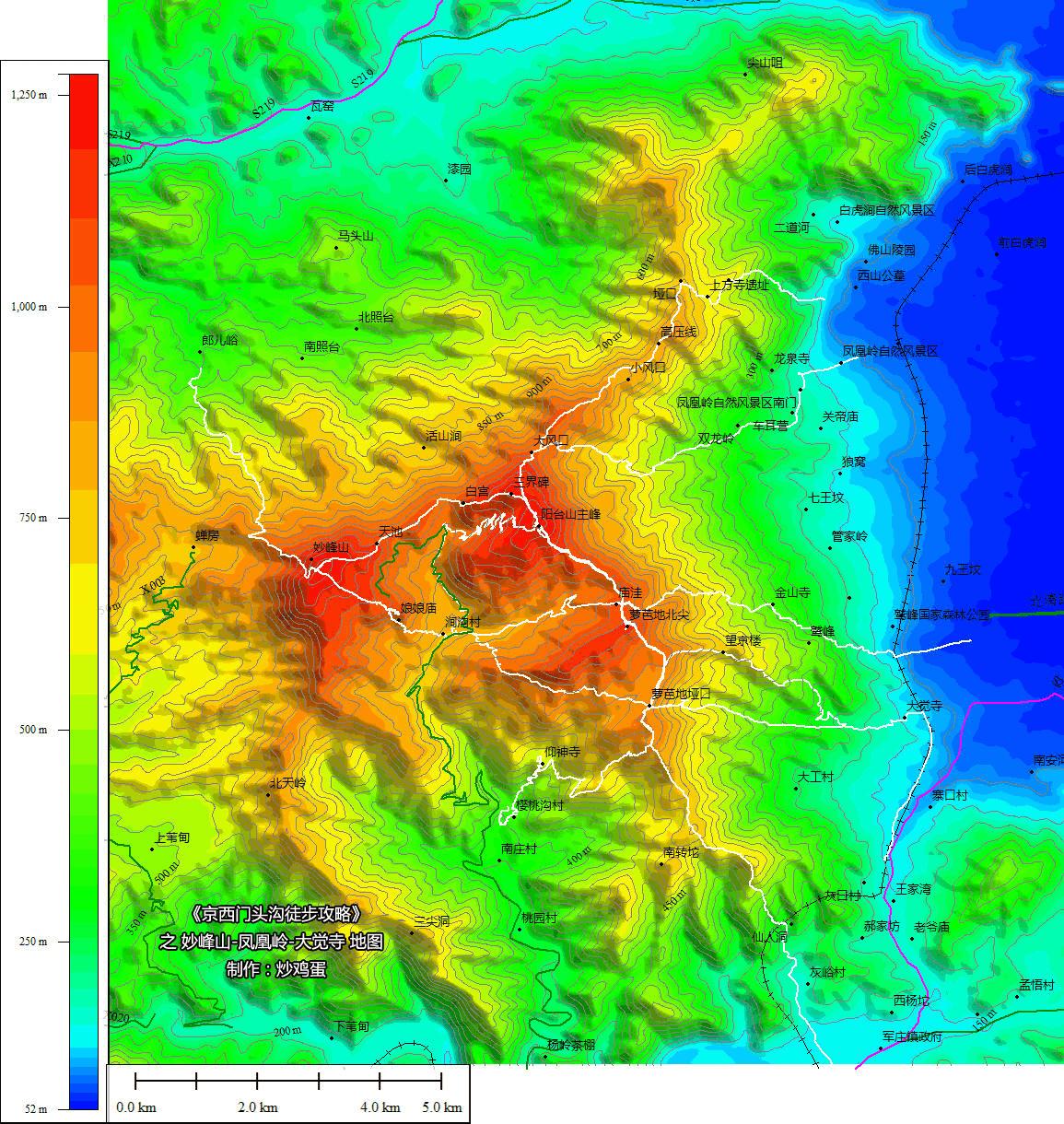 妙峰山、阳台山、凤凰岭、大觉寺周边地图