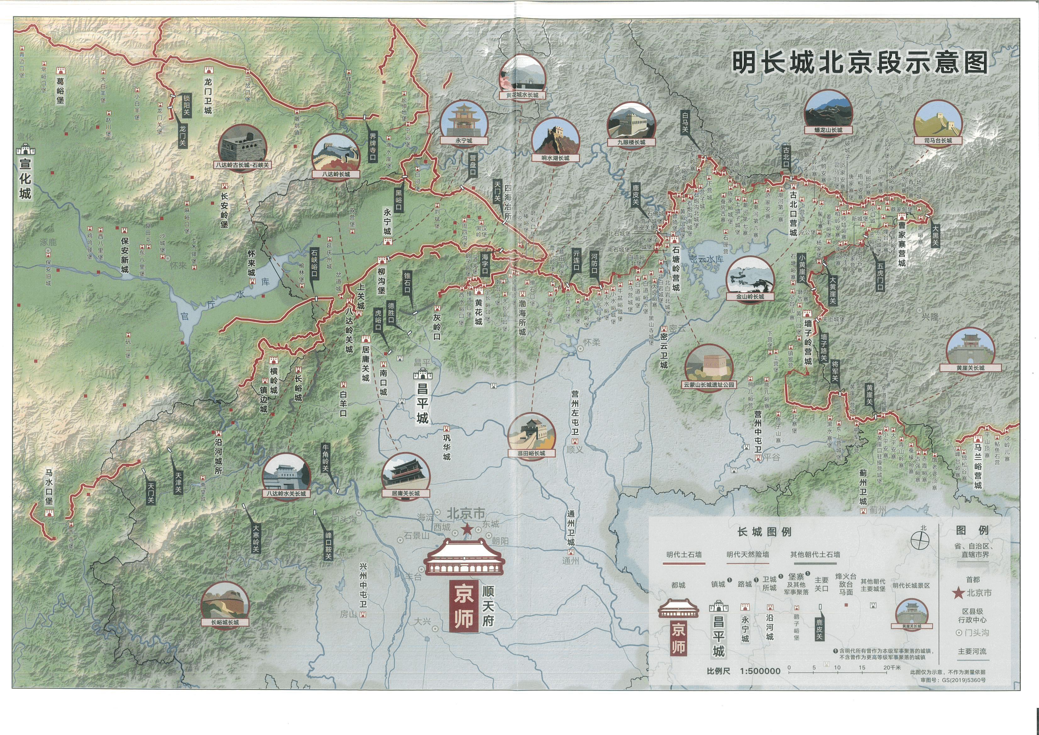 明长城北京段示意图